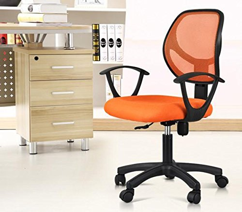 go2buy Adjustable Mid-Back Mesh Office Task Chair with Arms Swivel Computer Desk Chair Orange by go2buy