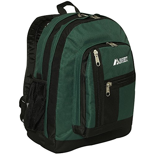 Everest Double Main Compartment Backpack, Dark Green, One Size