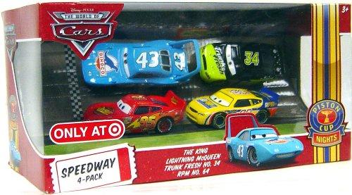 Disney / Pixar CARS Movie Exclusive 1:55 Die Cast Piston Cup Nights Speedway 4-Pack [Lightning McQueen, The King , Trunk Fresh #34 & RPM #64]