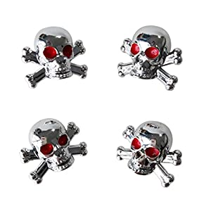 "TOOGOO(R) 4pcs Universal Car Truck Bike ""Skull"" Tire air Valve Stem Caps Wheel Rims"