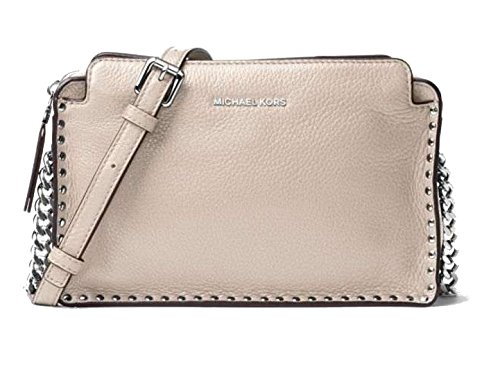 MICHAEL KORS 'ASTOR' Large STUDDED LEATHER MESSENGER BAG (Cement) (Michael Michael Kors Astor Large Satchel)