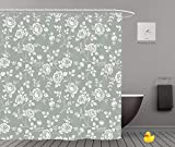 Shower Curtains 2.0 by iPrint,Pe9398_Seamless Monochrome Pattern With Roses Vintage Background With Blooming Roses Floral Wallpaper 01,Bathroom Accessories,Waterproof Bathroom Shower Curtain Set with