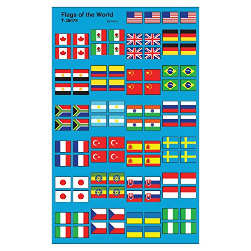 Trend Enterprises Inc. Flags of The World superShapes Stickers, 800 ct
