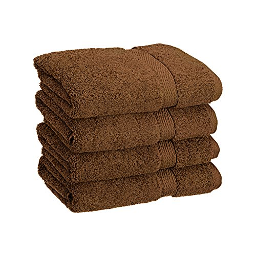 Superior 900 GSM Luxury Bathroom Hand Towels, Made Long-Staple Combed Cotton, Set of 4 Hotel & Spa Quality Hand Towels - Chocolate, 20 x 30 Each