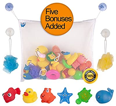 Baby Bath Toy Organizer Set by Bath Fun Time with 5 Bath Toys for Gift Boys Girls Toddlers No Mold Large Net comes with 2 Extra Strong Suction Cups and 2 ebooks by Multi Alley that we recomend personally.