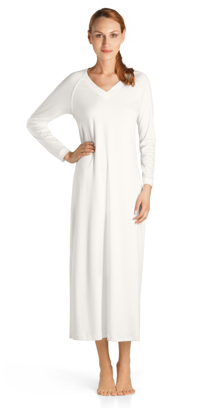 Hanro Women's Pure Essence Long Gown, Off White, Large