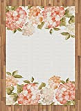 Floral Area Rug by Lunarable, Spring Hydrangea Bouquets Wedding Love Valentines Bridal Blossoms Design, Flat Woven Accent Rug for Living Room Bedroom Dining Room, 5.2 x 7.5 FT, Cream Salmon Khaki