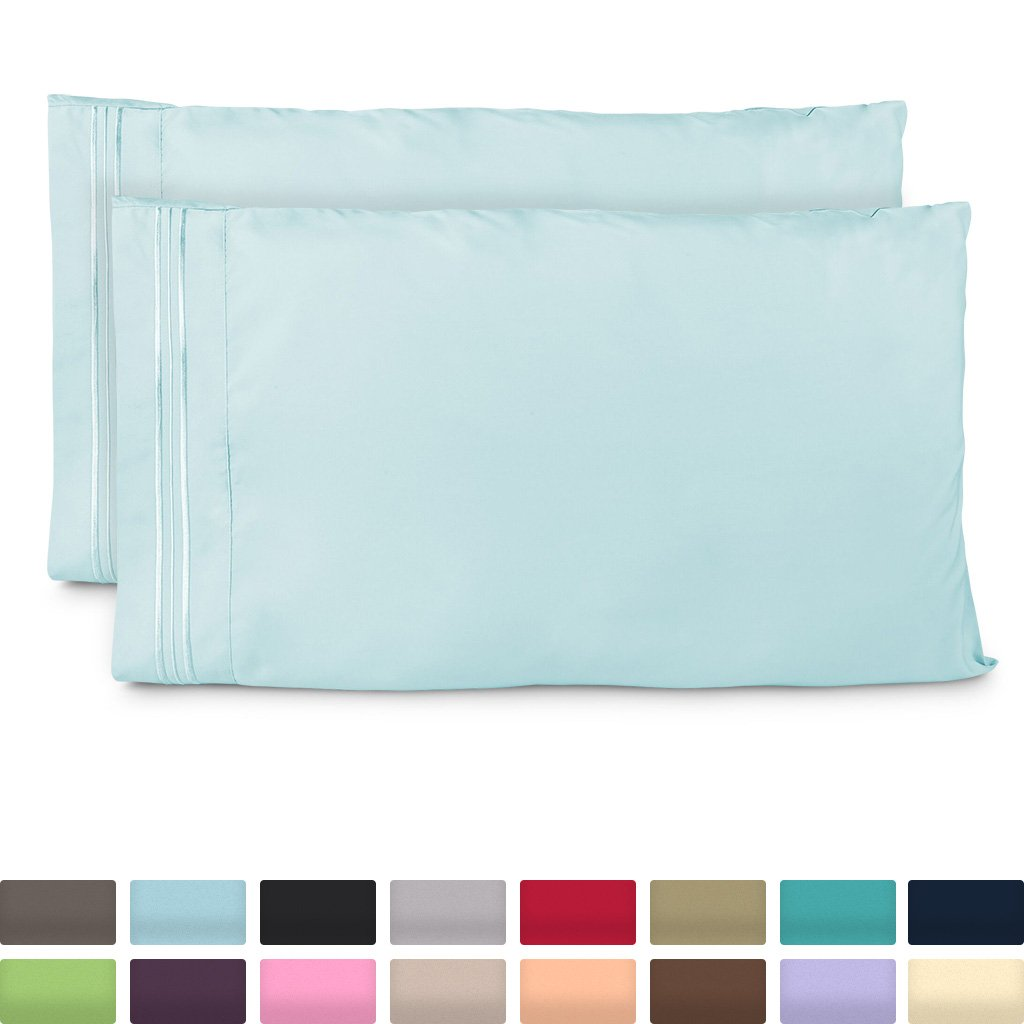 Cosy House Collection King Size Pillow Cases - Luxury Baby Blue Pillowcases - Super Soft Hotel Luxury Pillow Case - Cool & Wrinkle Free - Hypoallergenic - Light Blue - Set of 2