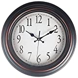 """Benail 13"""" Round Retro Wall Clock Classic Silent Non-Ticking Quartz Decorative Wall Clock Good for Living Room & Home & Office Battery Operated (Bronze)"""