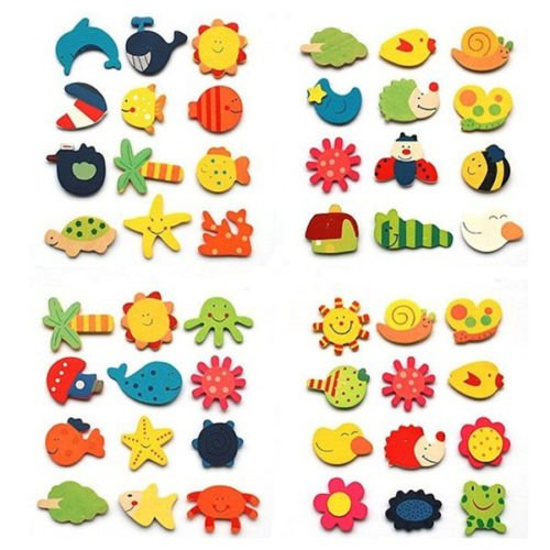 12Pcs Set Baby Kids Wooden Cartoon Animal Fridge Magnet Child Educational Toys
