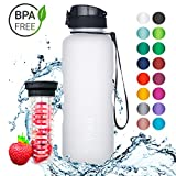 720°DGREE Water Bottle uberBottle 1.5 Liter, 50oz | Sports Bottles - Tritan Plastic - BPA Free | Ideal Drinking for School, Fitness, Outdoor, Camping | Simple 1-Click Opening | White