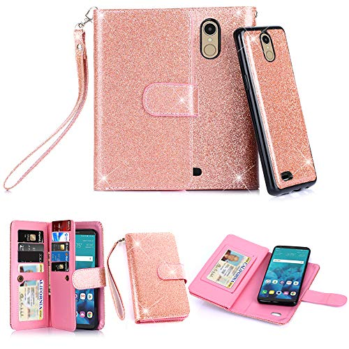 LG Stylo 4, LG Q Stylus Case, 10 Card Slot - ID Slot, Button Wallet Folio PU Leather Case Cover with Detachable Magnetic Hard Case (Rose Gold) (Credit Card Machine Attached To Cell Phone)