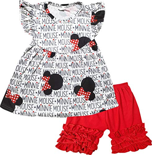 Boutique Baby Girls Disney Minnie Mouse Back to School Top Capri Outfit White/Red 12-18M/XS]()