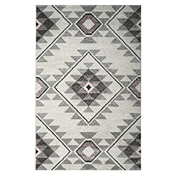 Amazon.de: Tapis de salon contemporain TOSCANE Creme, gris et rose ...
