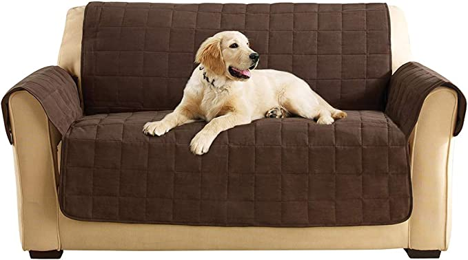 SureFit Quilted Soft Suede Loveseat Non Slip Furniture Cover, Chocolate
