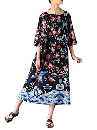 (LYNStar✔ Women's Vintage Floral Printed Lotus Sleeves Elastic Waist Pleated Party Midi Dress Cotton and Linen Dress Black)