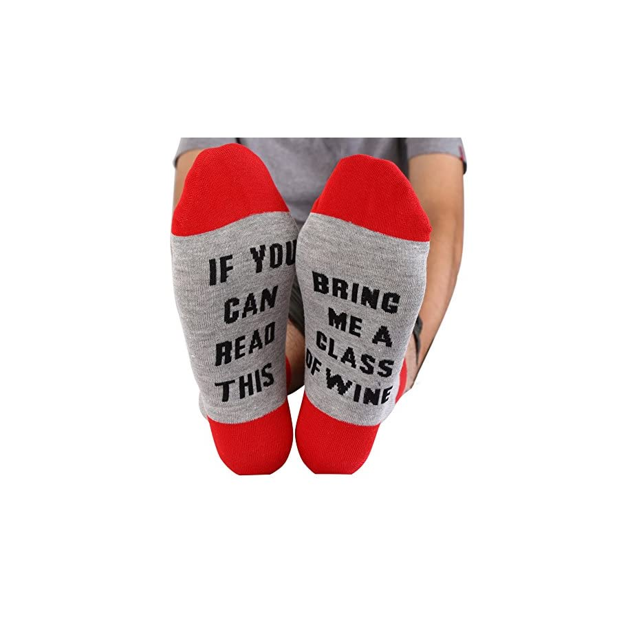 Fenta Socks If You Can Read This Bring Me A Glass of Wine Gift Holiday Walking Running Climbing