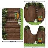 3 Piece Bathroom Mat Set,Farm-House-Decor,Gardening-Material-Tools-on-the-Backyard-with-Shovel-and-Bucket-Print,Green-Brown.jpg,Bath Mat,Bathroom Carpet Rug,Non-Slip