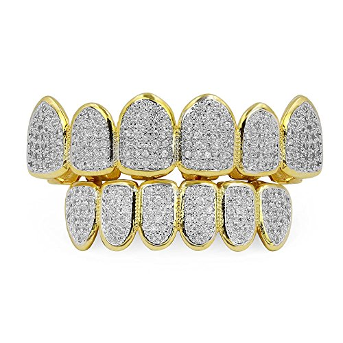 JINAO 18k Gold Plated All Iced Out Luxury Rhinestone Gold Grillz Set with Extra Molding Bars Included