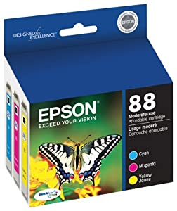 Epson DURABrite Ultra 88 Moderate-use Inkjet Cartridge Color Multipack 1 Cyan, 1 Magenta, 1 Yellow T088520