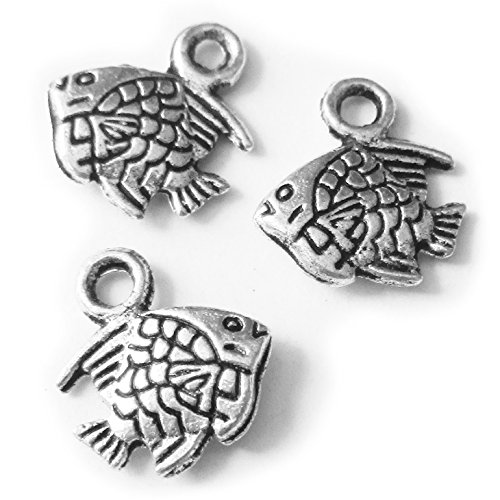Heather's cf 155 Pieces Silver Tone Small Fish Beads DIY Charms Pendants (Fish Charms)