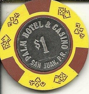 $1 palm hotel silver inlay san juan puerto rico casino chip yellow
