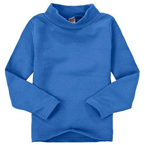 CuteOn Children Unisex Solid Color Kids School Uniform Long Sleeve Turtleneck T-Shirt Royal Blue 6 ()