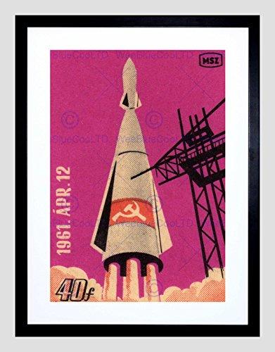 Postage Stamp Soviet Russia 1961 Rocket Space Black Framed Art Print - Stamp Print Framed