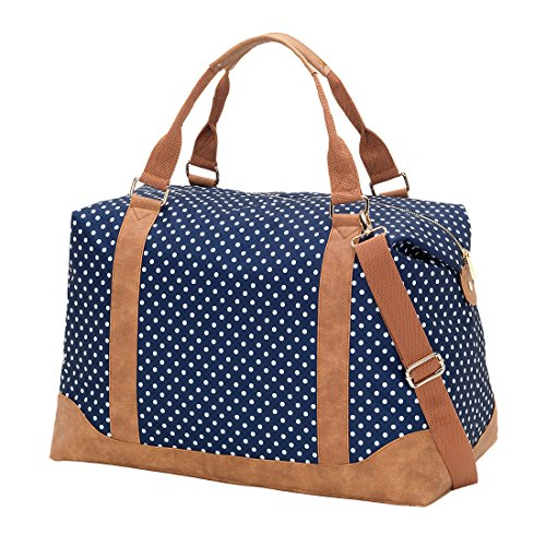 Personalized Tote Overnight Bag (VIV&LOU High Fashion Print Weekender Bag (Personalized, Charlie Navy Dots))
