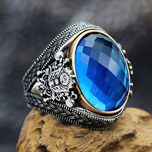 - Men Ring Blue Lab Aquamarine 925 sterling silver rare ring zulfiqar sword ottoman tugra ottoman moon star Islamic Arabian art