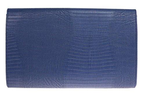 Girly HandBags Animal Impreso Piso Sobre Tarde del Bolso de Embrague Señoras Azul Marrón Negro Metal