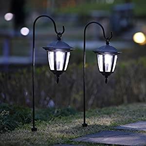 51ouXa2OtNL. SS300  - Maggift 26 Inch Hanging Solar Lights Dual Use Shepherd Hook Lights with 2 Shepherd Hooks Outdoor Solar Coach Lights, 2 pack