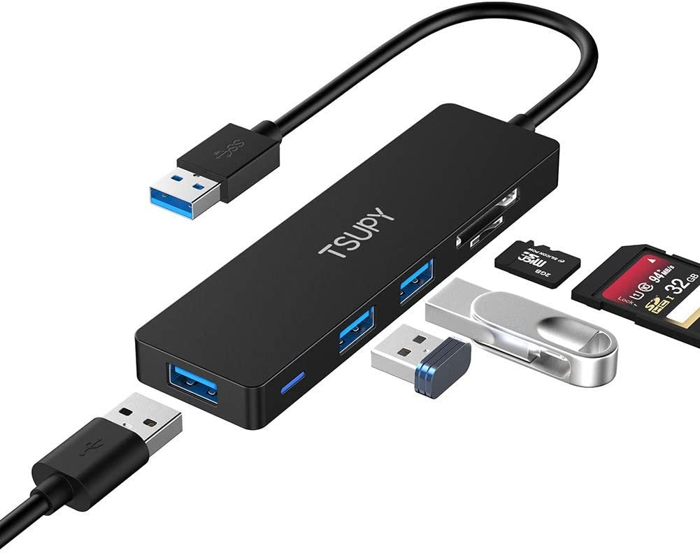 USB 3.0 Hub TSUPY Multi USB HUB, 5 in 1 USB Data Hub with SD/TF Card Reader & 3 USB 3.0 Ports Compatible for PC, Laptops,MacBook,Printer and Other USB Devices