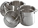 All-Clad E796S364 Specialty Stainless Steel Dishwasher Safe 12-Quart Multi Cooker Cookware Set, 3-Piece