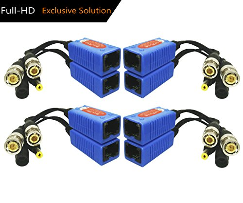 Igreeman 4 Pair Passive Video Balun With Power (Upgraded IC Solution) Full HD 1080P-5MP Surveillance Security Camera Network Transceiver RJ45 Cat5e/Cat6 Cable to BNC Male (Security Data Cable)