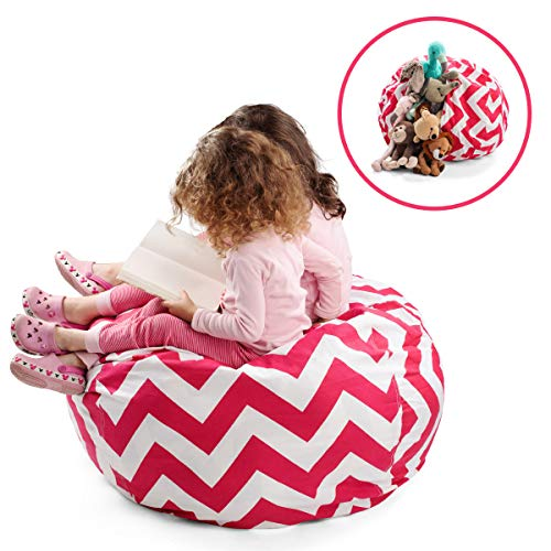 Smart Additions Bean Bag Chair – Bean Bag for Stuffed Animal Storage, Stuff and Sit Bean Bag Cover for Kids, Toy Storage Bean Bag Chair, Bright Color Zigzag Bean Bag Toy Organizer, Red – Extra Large