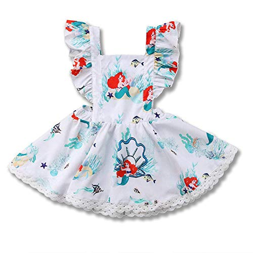 Toddler Baby Kids Girls Mermaid Dress Strap Ruffle Sleeves Backless Summer Party Dress Beach Wear (Blue, 2-3 Years)