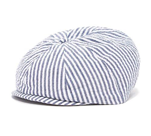 Navy and White Stripe Baby Toddler Caps (NB 42 cm 0-6m, navy newsboy)