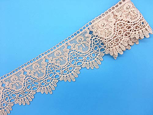 9CM Width Europe Crown Pattern Inelastic Embroidery Lace Trim,Curtain Tablecloth Slipcover Bridal DIY Clothing/Accessories.(4 Yards in one Package) (Pink)