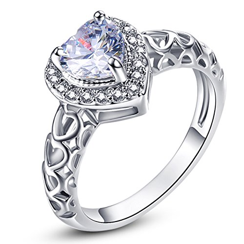 Psiroy 925 Sterling Silver Created White Topaz Filled Halo Heart Promise Ring