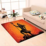 Nalahome Custom carpet tional House Decor Indian Lord Silhouette Holy Divine Mystic Zen Eastern Home Burnt Orange Black area rugs for Living Dining Room Bedroom Hallway Office Carpet (6' X 9')