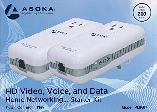 2 Asoka PlugLink ETH-200 Mbps HomePlug Powerline Ethernet Adapter - 9667 with Home Plug Passthrough