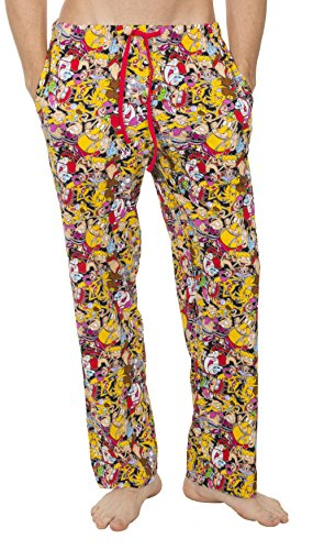 Underboss Mens Nick Rewind Nostalgia Mob Scene Multiprinted Characters Unisex Lounge Pants with Drawstring Waist Red/Yellow Small by Underboss (Image #1)