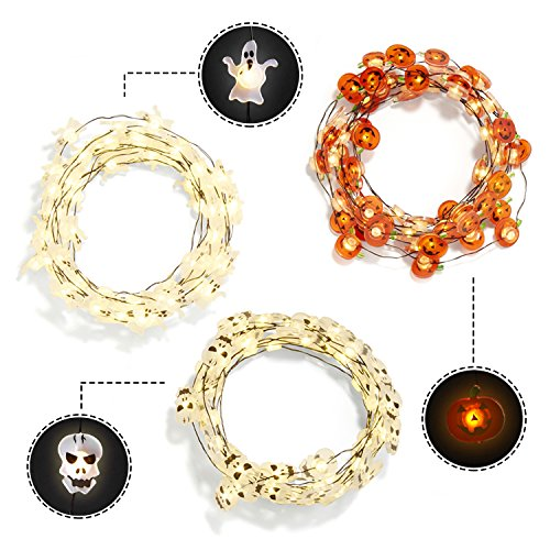 Halloween Themed Fairy String Lights, Set of 3, Battery Operated, Bright White LEDs, Seasonal Indoor Decor