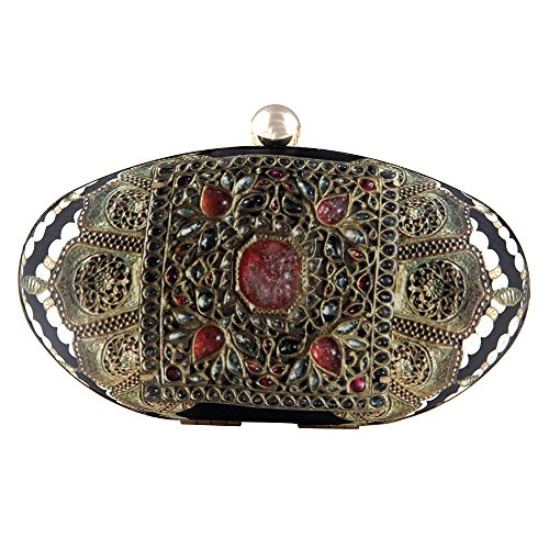 Jadau Print Black Clutch Purses for Women by Indian Designer Puneet Gupta by Puneet Gupta Fine Crafted Goods (Image #5)