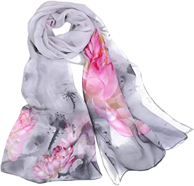 New Womens Chiffon Print Gradient Color Long Neck Scarf Shawl Scarves Stole Wrap