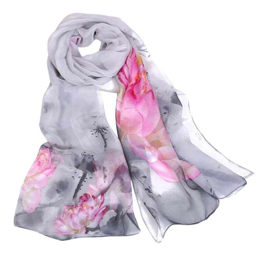 Clearance Silk Scarf for Women,Maonet Christmas Fashion Lotus Printing Long Soft Wrap Scarf Ladies Shawl Scarves (F)