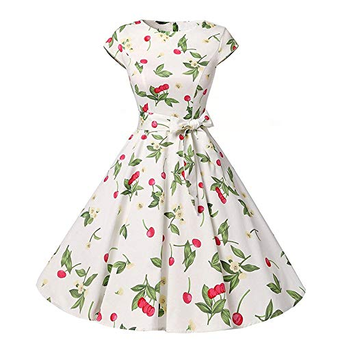 (Women Vintage Floral Print Sleeveless Casual Evening Party Hepburn Dress (White X-Large))