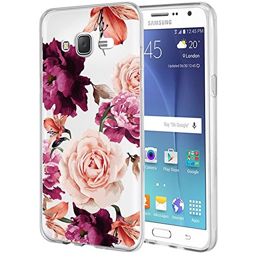 Galaxy J7 Case,J700 Case with flowers, BAISRKE Slim Shockproof Clear Floral Pattern Soft Flexible TPU Back Cove for Samsung Galaxy J7 J700 (2015)[Purple Pink]