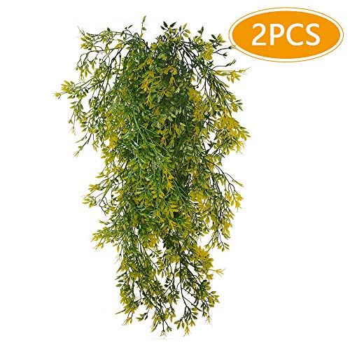 Musdoney 2 Pack Artificial Plants Vines Ferns Persian Rattan Fake Hanging Ivy Decor Plastic Greenery for Wall Indoor Outdoor Hanging Baskets Wedding Garland Decor (Green&Yellow) ()